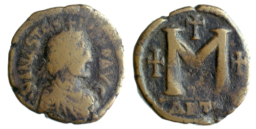 A copper-alloy follis of Emperor Anastasius I, struck at Antioch in 498-518, Barber Institute of Fine Arts B0151