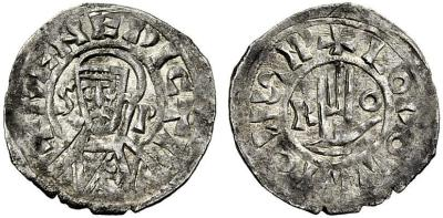 Silver denaro of Pope Benedict IV with Emperor Louis the Blind, struck in Rome between 901 and 903, NAC Numismatica SpA auction, 18 December 2010