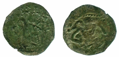 Copper-alloy asarion of Tsar Ivan Alexander and his son Michael, struck at an unknown location in 1331-55, provisionally numbered Barber Institute of Fine Arts BH0088.