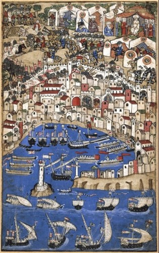 Medieval depiction of the city of Genoa