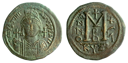 Copper-alloy follis of Emperor Justinian I struck at Cyzicus in 543&ndash544, Barber Institute of Fine Arts B0692