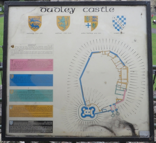Plan of Dudley Castle on display at the site