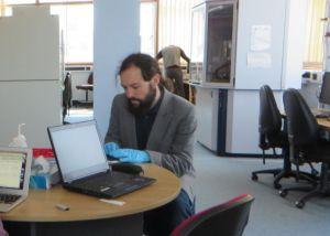 Jonathan Jarrett processing experimental data in the Department of Chemistry, University of Birmingham