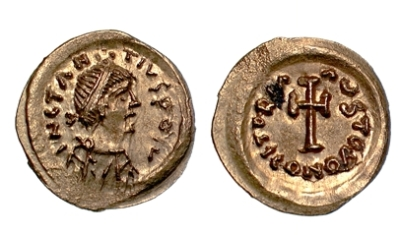 A gold tremissis of Emperor Constans II struck at Ravenna in 641-668, Barber Institute of Fine Arts B4235