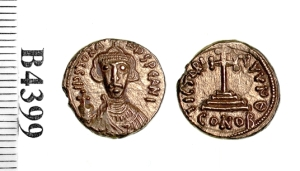A gold solidus of Emperor Justinian II struck at Carthage 685-695, Barber Institute of Fine Arts B4399