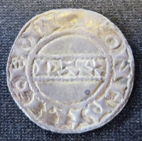 Reverse of a silver penny of King Harold II of England struck at Canterbury in 1066, SCBI 21 1105