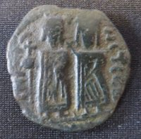 A copper-alloy forty-nummi of a type which has been suggested was struck by the occupying government of the Syrian provinces of the Byzantine Empire during their occupation by the Persians at the turn of the sixth and seventh centuries