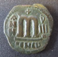 Copper-alloy forty-nummi struck during the Persian occupation of Syria 615-27