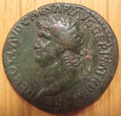 A copper-alloy sestertius of Emperor Nero struck at Rome in 65 AD, Brotherton Collection, University of Leeds, uncatalogued