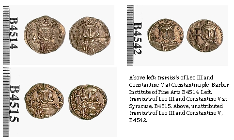 Gold solidi of Leo III and Constantine V from different mints compared