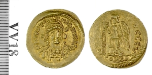 A gold solidus struck in the name of Emperor Justinian I at Rome in 527-536, Barber Institute of Fine Arts VV0018