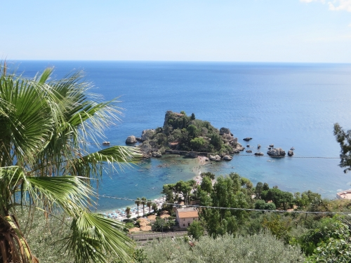 A view down one of Taormina's cliffs to the sea