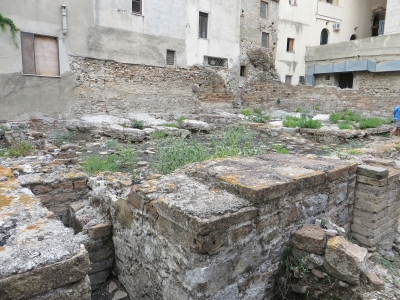 View of part of the Roman baths complex and floor in Taormina