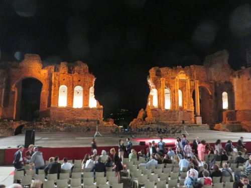 Evening view from the seating inside the Greco-Roman theatre, Taormina, Sicily