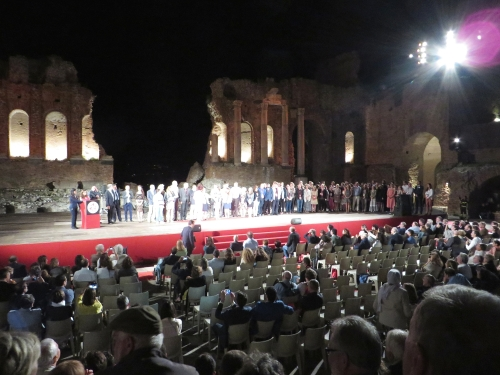 Prize-winners from the 15th International Numismatic Congress on the stage of the Greco-Roman theatre, Taormina, Sicily