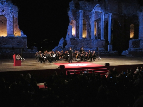 Orchestral performance during the 15th International Numismatic Congress, in the Greco-Roman theatre, Taormina, Sicily