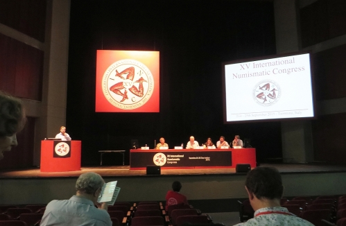 Speakers in the theatre of the Palazzo dei Congressi, Taormina, Sicily, in the second session of the last day of the XV International Numismatic Congress