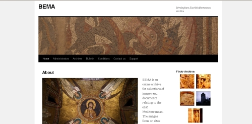 Screen capture of the home page of the Birmingham East Mediterranean Archive