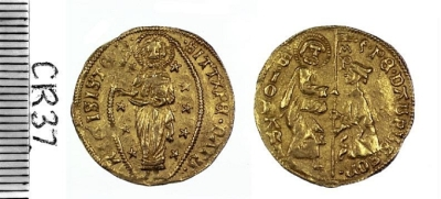 Gold ducat of Pierre d'Aubusson struck at Rhodes 1476-1503, Barber Institute of Fine Arts CR0037