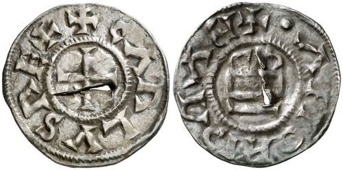 Silver denier struck in Barcelona, probably in the late ninth or early tenth century. Aureo y Calic�, Ramon Muntaner sale, April 2014, lot 211