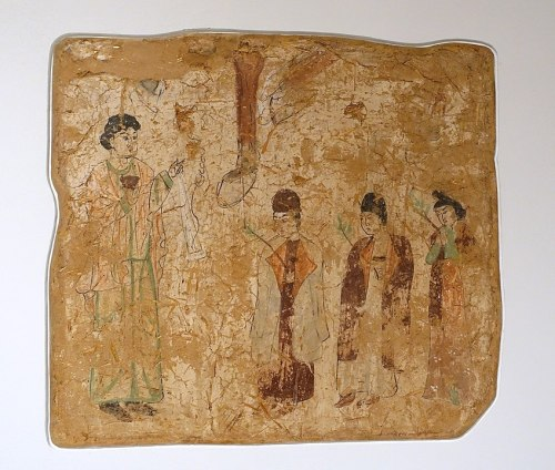 Nestorian priests in a procession on Palm Sunday, in a seventh- or eighth-century wall painting from a Nestorian church in Qocho, China