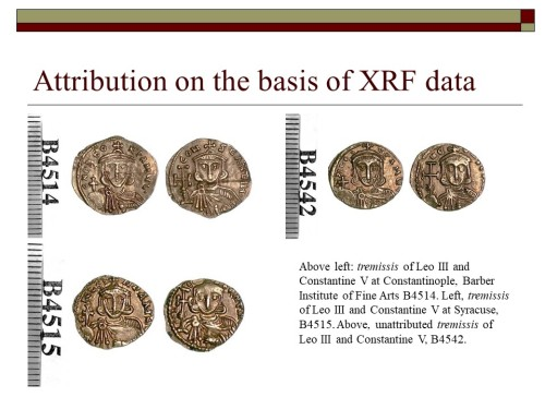 Powerpoint slide showing three tremisses of Emperors Leo III and Constantine V from different mints