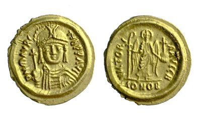 Gold solidus of Emperor Maurice struck at Ravenna 582-602, Barber Institute of Fine Arts B2390