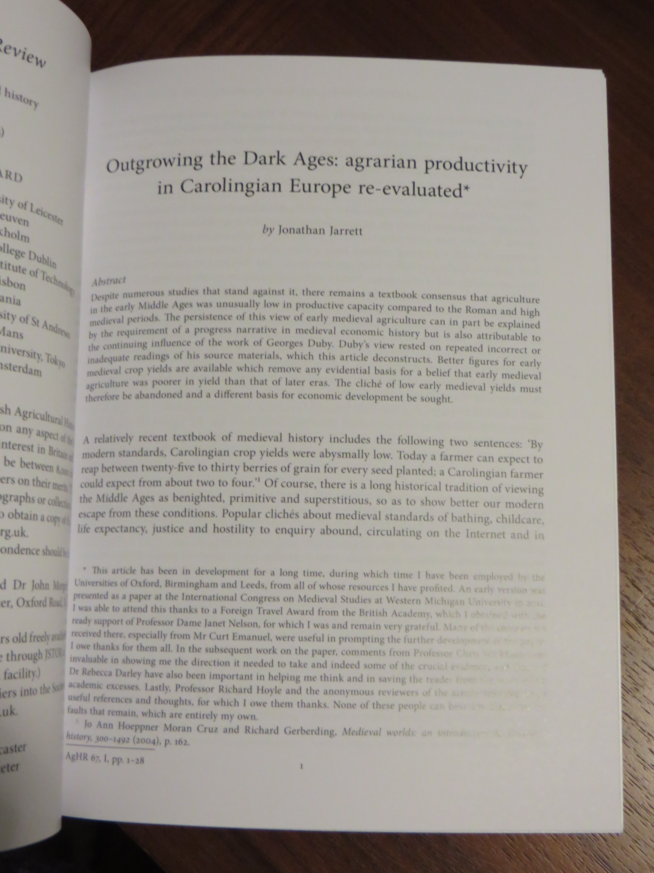 """Opening page of Jonathan Jarrett, """"Outgrowing the Dark Ages: agrarian productivity in Carolingian Europe re-evaluated"""" in Agricultural History Review Vol. 67 (Reading 2019), pp. 1-28"""