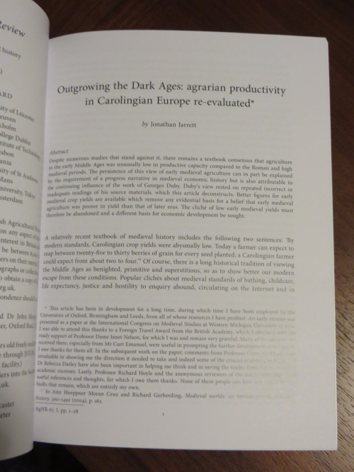 "Opening page of Jonathan Jarrett, ""Outgrowing the Dark Ages: agrarian productivity in Carolingian Europe re-evaluated"" in Agricultural History Review Vol. 67 (Reading 2019), pp. 1-28"