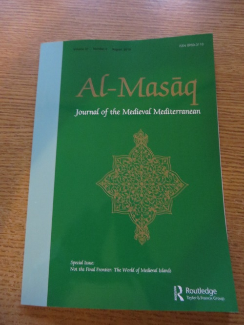 Vol. 31 issue 2 of al-Masāq: Islam and the Medieval Mediterranean, entitled Not the Final Frontier: The World of Early Medieval Islands