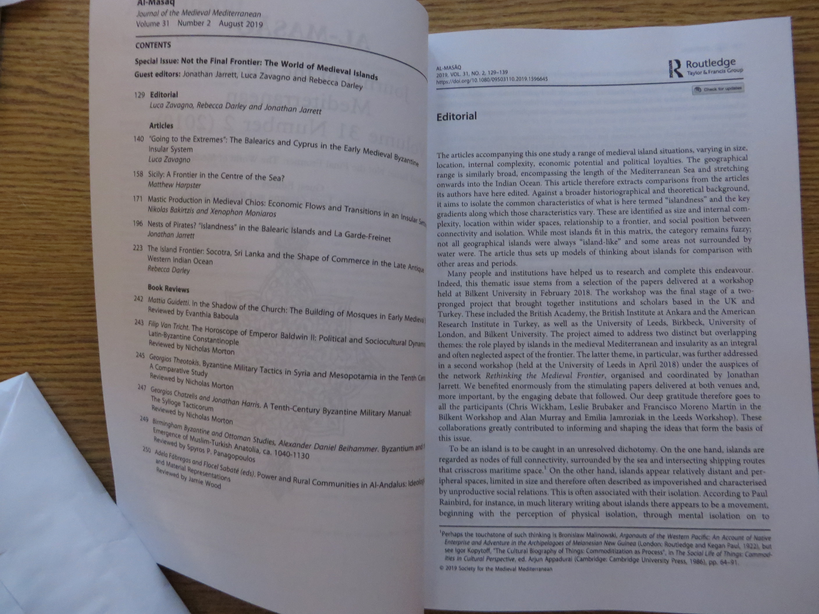 """Start page of Luca Zavagno, Jonathan Jarrett and Rebecca Darley, """"Editorial"""" in al-Masāq: Islam and the Medieval Mediterranean Vol. 31.2, 'Not the Final Frontier': The World of Medieval Islands (Abingdon 2019), 129–39, DOI: 10.1080/09503110.2019.1596645"""