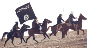 ISIS jihadis posed for propaganda video on horseback with black banners
