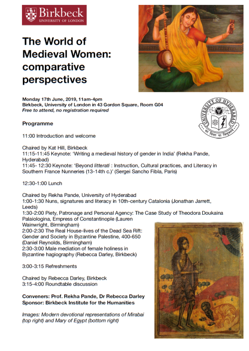 Conference poster for Medieval Women: comparative perspectives, Birkbeck, University of London, 17 June 2019
