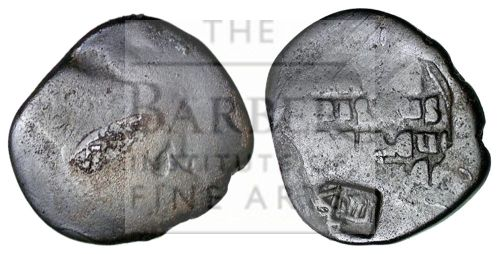 An anonymous copper-alloy follis struck in the Byzantine Empire between 976 and 1035 and then later countermarked 'Saif' and lost as part of Mardin Hoard, Barber Institute MH0099