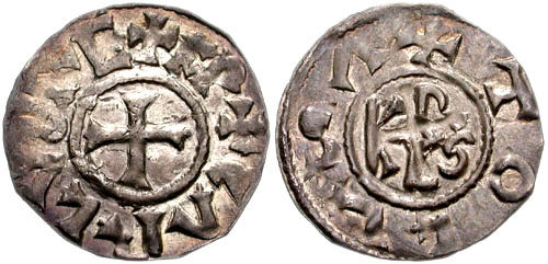 Silver denier of Charlemagne struck at Toulouse between 792 and 812