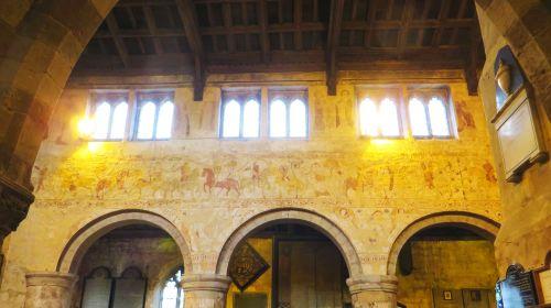 Medieval fresco along the northern arcade wall of All Saints Church, Claverley