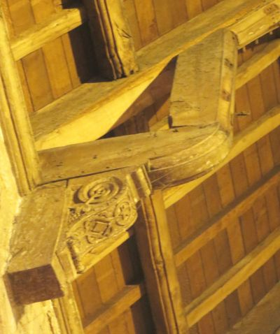Carved joinery helping to hold up the roof at All Saints Claverley