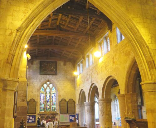 View down the nave from the east end of All Saints Church, Claverley