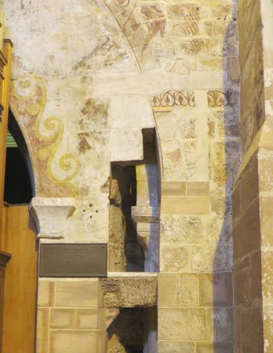 Older fabric partially concealed by rebuilding work at All Saints Church, Claverley