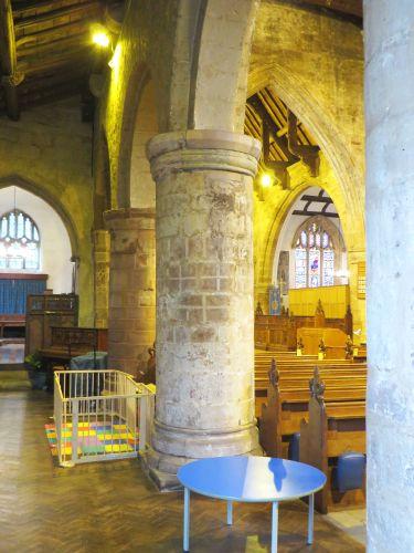 Polychrome decoration on an arcade pillar in All Saints Church, Claverley