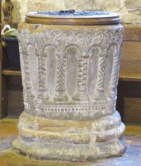 A medieval font at All Saints Claverley
