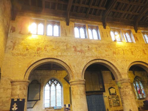 Fresco sequence on the north arcade wall of All Saints, Claverley