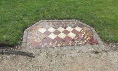Floor tiling indicating the location of the dormitory and servants' quarters at St James's Priory, Dudley