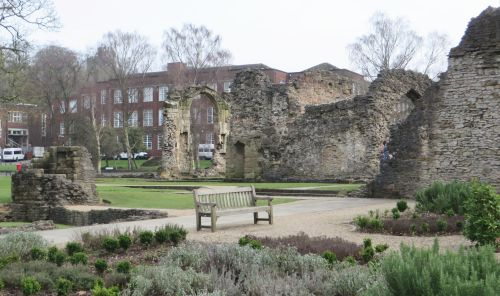 Urban setting of the ruins of the Priory of St James, Dudley