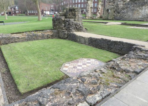 Wall courses of the chanter's house at the priory of St James, Dudley