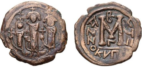 Copper-alloy follis of Emperor Heraclius struck in Cyprus 626-627, image from Numista