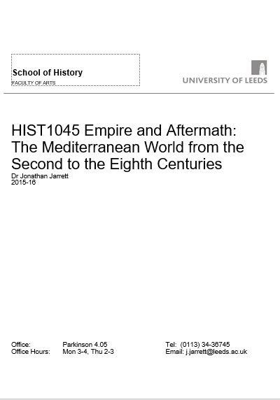 Cover of my module handbook from HIST1045 Empire and Aftermath for 2015-16