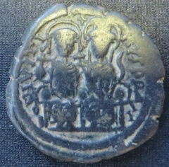 Obverse of copper-alloy 40-nummi of Emperor Justin II struck at Nicomedia in 574-575, Brotherton Library, University of Leeds, Thackray Collection, CC-TH-BYZ-227