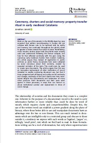 """Title page of Jonathan Jarrett, """"Ceremony, charters and social memory: property transfer ritual in early medieval Catalonia"""" in Social History Vol. 44 (Abingdon 2019), pp. 275-295"""