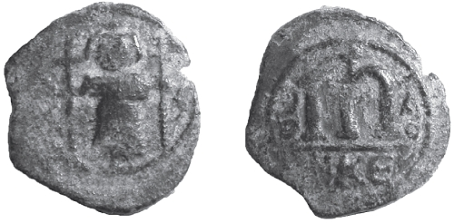 Copper-alloy Arab-Byzantine follis struck probably in Syria in the mid-seventh century, provenance and location unknown